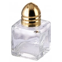 Winco G-101 Glass Square Shakers with Gold Plated Top - 1 doz