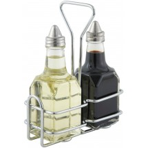 Winco G-104S Oil and Vinegar Cruet Set 6 oz. with Chrome-Plated Rack