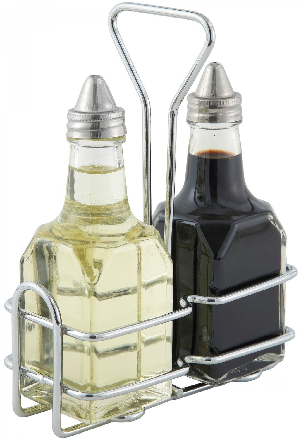 winco g 104s oil and vinegar cruet set 6 oz with chrome plated rack. Black Bedroom Furniture Sets. Home Design Ideas