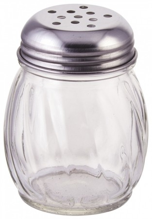 Winco G-107 Glass Cheese Shaker with Perforated Top 6 oz. - 1 doz