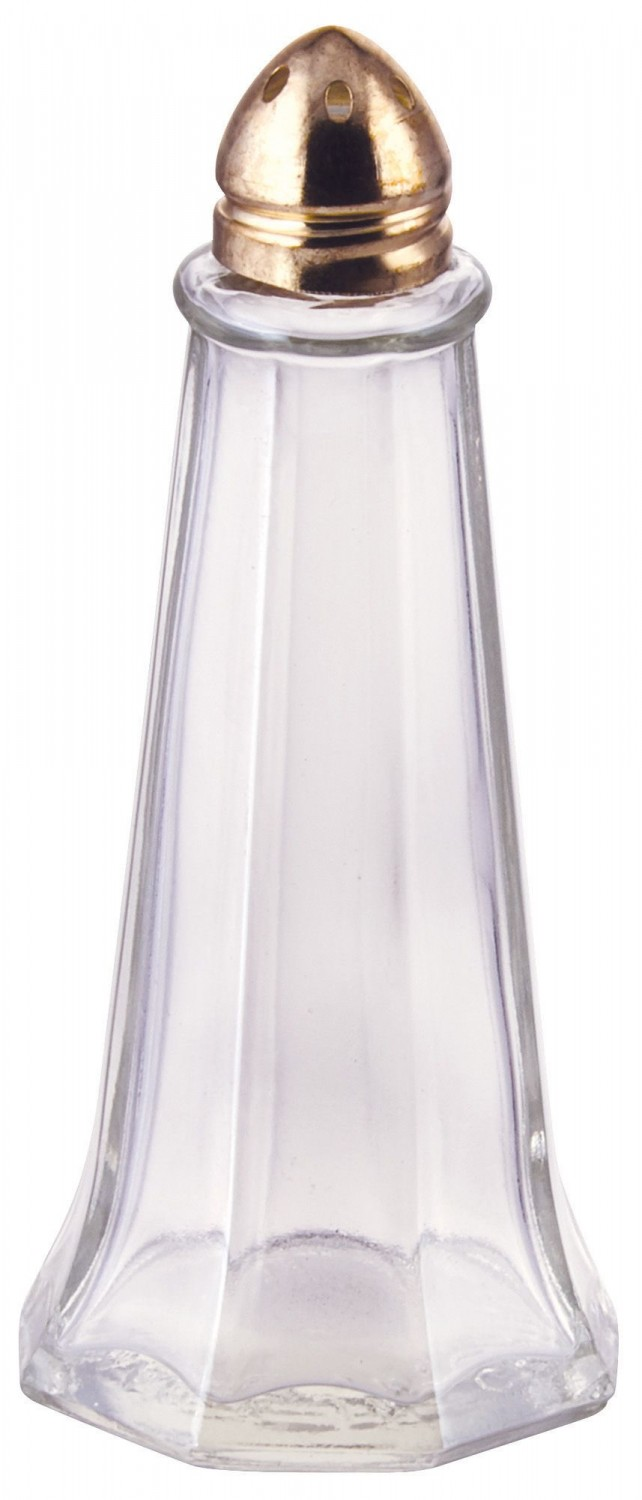 Winco G-111 Glass Tower Shaker with Brass Tone Top 1 oz. - 1 doz