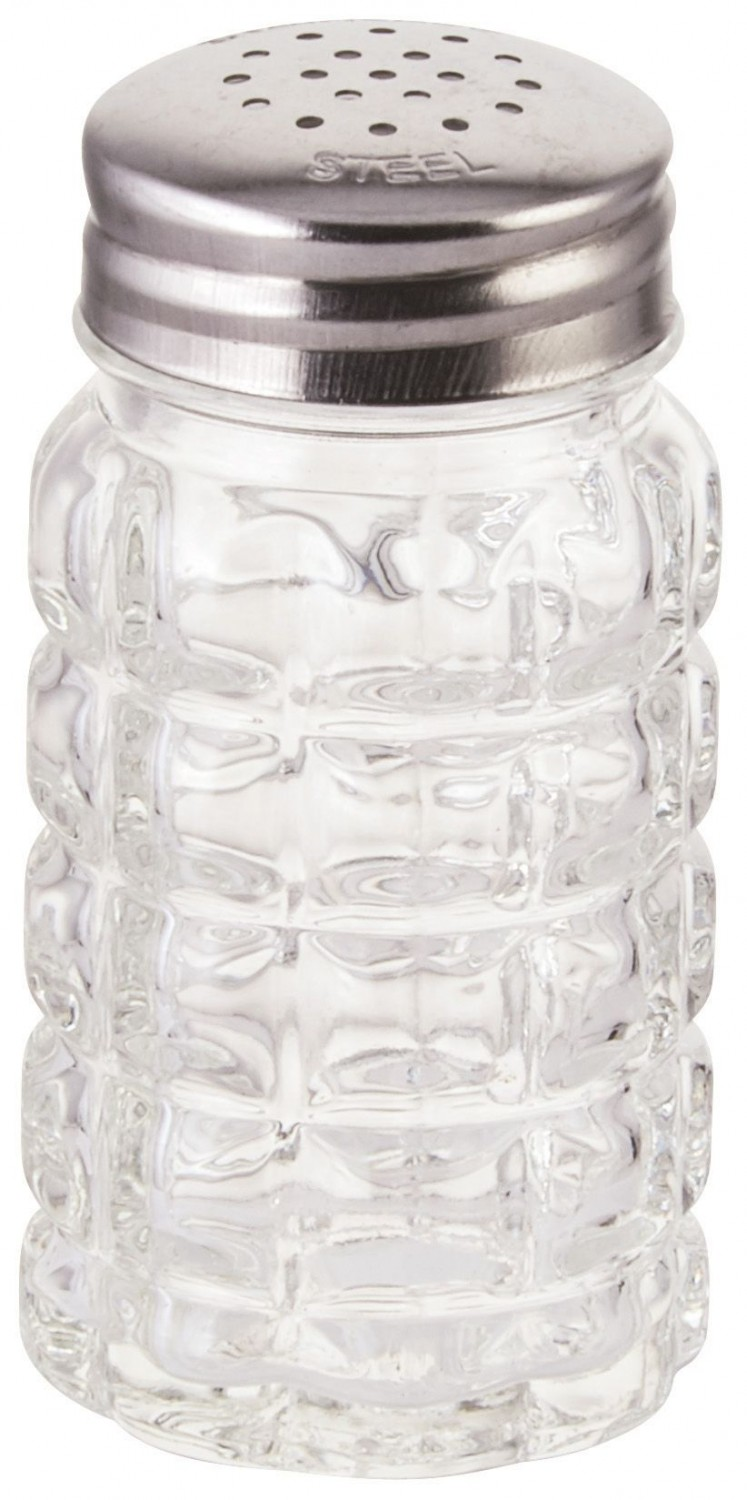 Winco G-118 Glass Classic Shaker with Stainless Steel Flat Top 2 oz. - 1 doz
