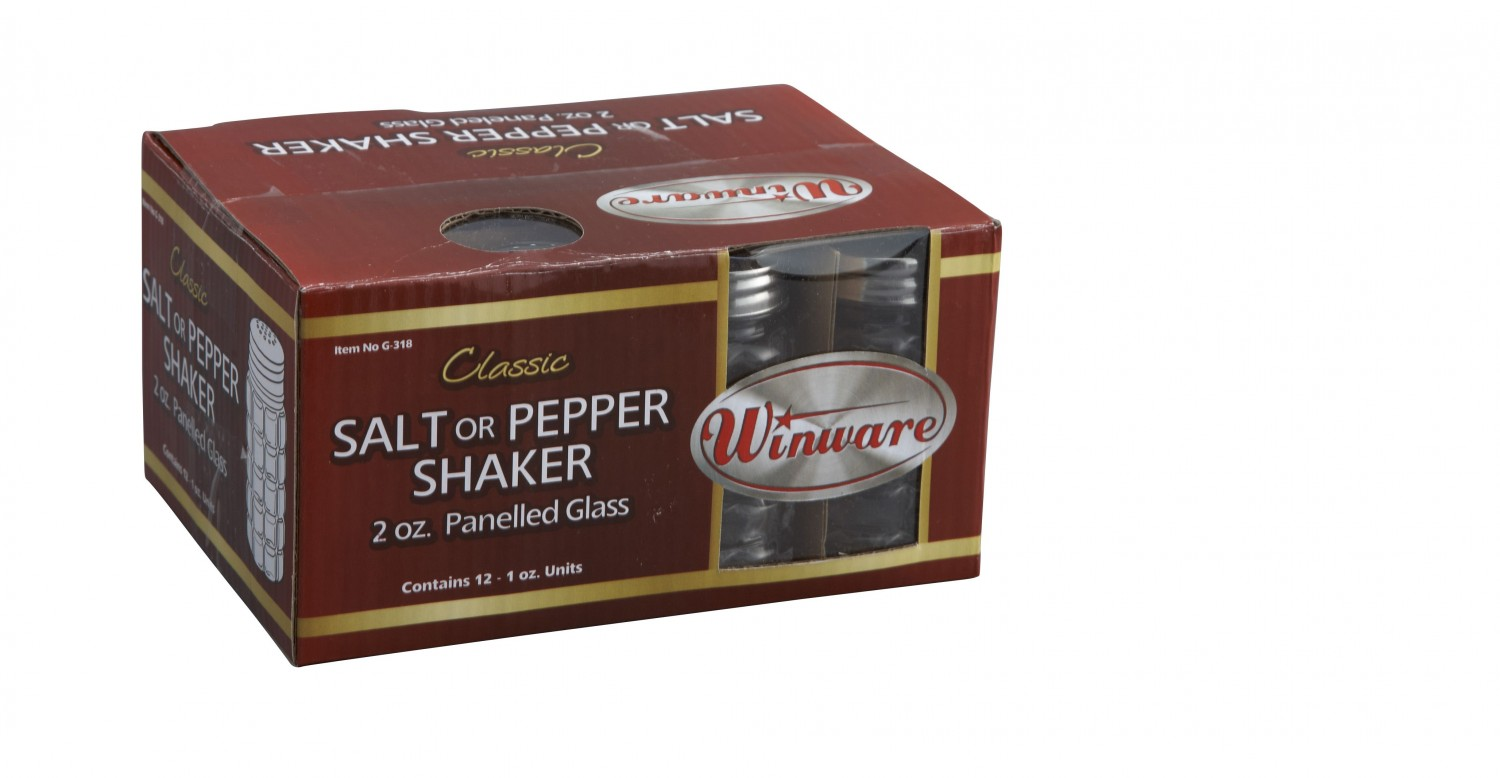 Winco G-318 2 Oz. Classic Shaker with Stainless Steel Flat Top