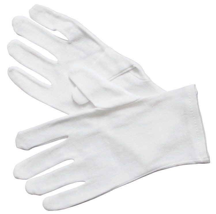 Winco GLC-L White Cotton Glove Size Large - 1 doz