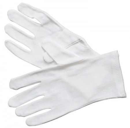Winco GLC-L White Large Disposable Cotton Service Gloves - 1 doz