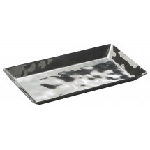"Winco HPO-12 Hammered Steel Oblong Serving / Display Tray 12-5/8""L x 7-1/4""W x 1""H"