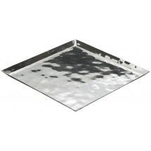 "Winco HPS-10 Hammered Steel Square Serving / Display Tray 10-1/4""L x 10-1/4""W x 5/8""H"