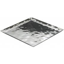 "Winco HPS-13 Hammered Steel Square Serving / Display Tray 13-1/4""L x 13-1/4""W x 5/8""H"