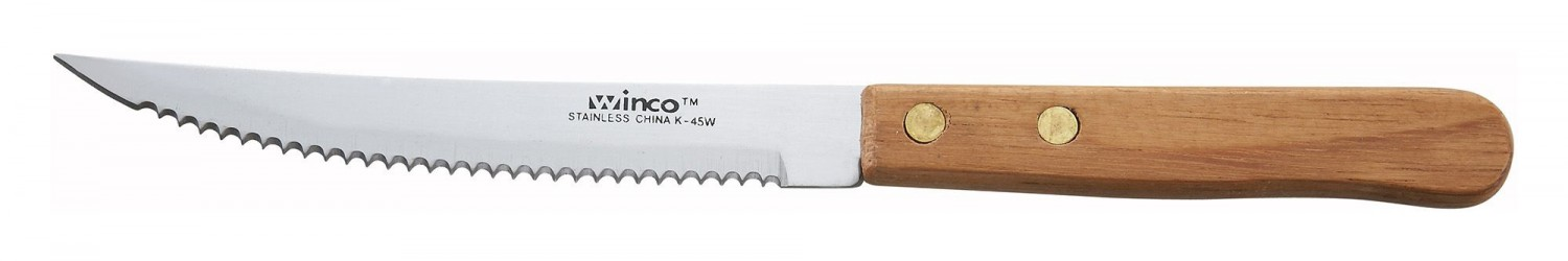 Winco K-45W Pointed Tip Steak Knife With Wooden Handle 4 1/2""
