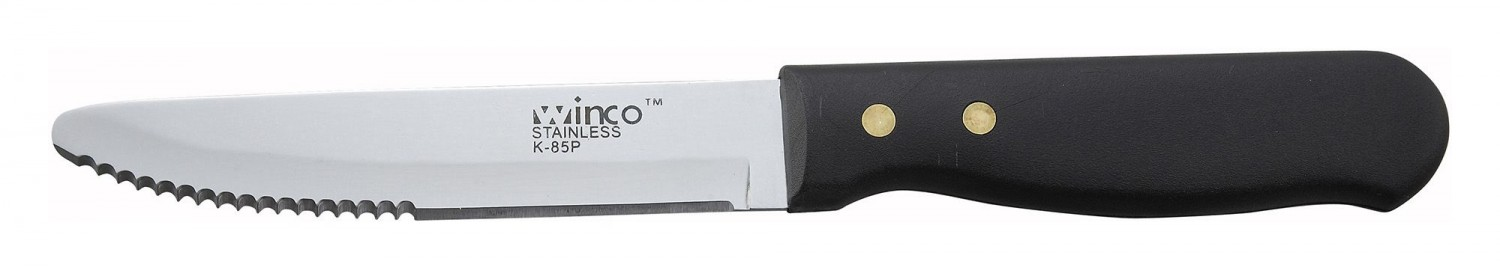 "Winco K-85P Jumbo Steak Knife with Plastic Handle 5"" - 1 doz"