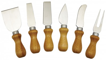 Winco KCS-6W 6-Piece Cheese Knife Set with Wooden Handles
