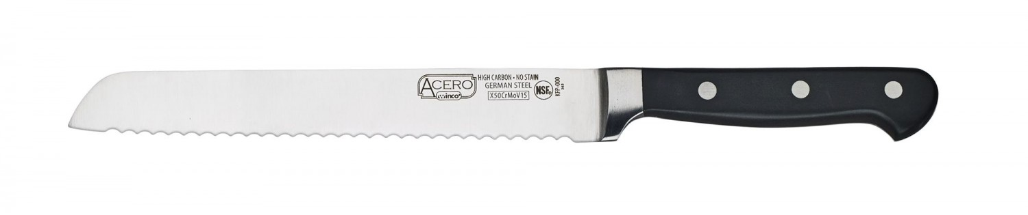 Winco KFP-82 One-Piece Full Tang Bread Knife 8""