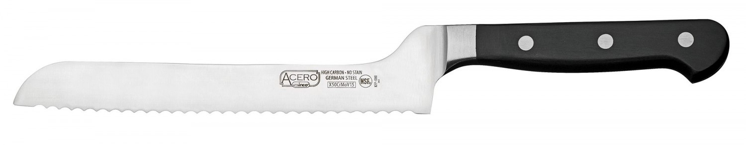 Winco KFP-83 Bread Knife With Offset 8""