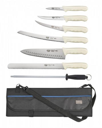 Winco KWP-KIT1 7-Piece Stainless Steel Knife Roll Set