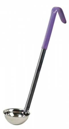 Winco LDC-2P Allergen Free Stainless Steel One-Piece Ladle with Purple Handle 2 oz.