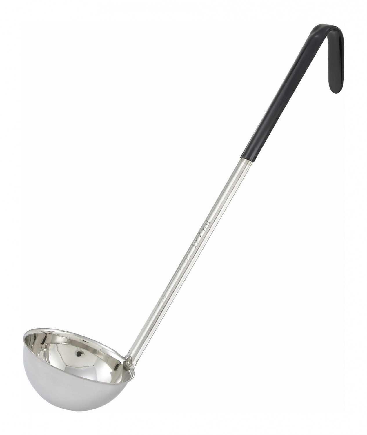 Winco LDC-6 Stainless Steel Ladle with Black Handle 6 oz.