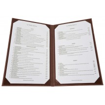 Winco LMD-814BN Brown Leatherette Two Panel Menu Cover 8-1/2 x 14""