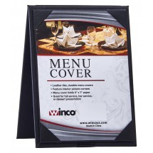 "Winco LMTD-57BK Black Leatherette Dual View Table Menu Tent 5"" x 7"""
