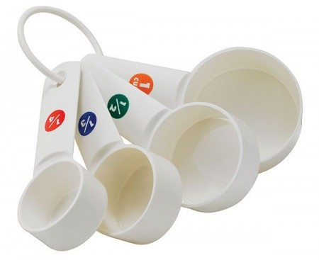 Winco MCPP-4 White Plastic 4-Piece Measuring Cup Set