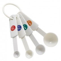 Winco MSPP-4 White Plastic 4-Piece Measuring Spoon Set