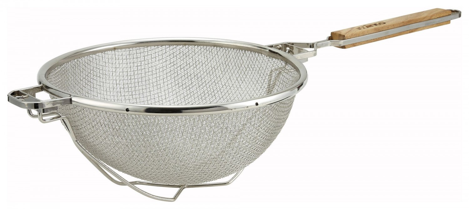 Winco MST-10RB Nickel-Plated Reinforced Double Mesh Strainer 10-1/4""