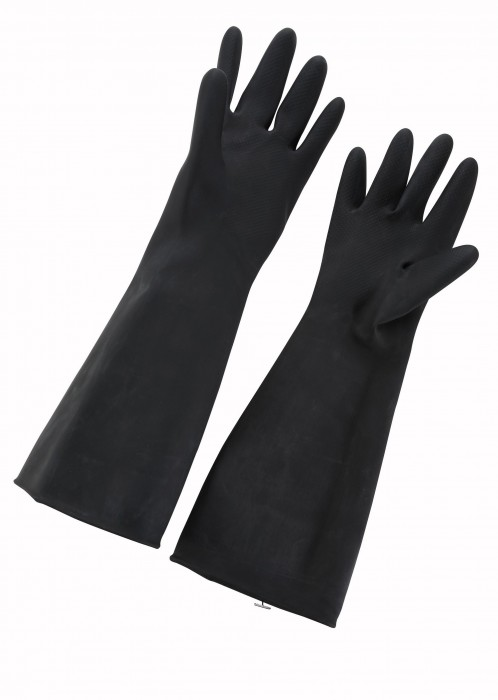 Winco NLG-1018 Black Natural Latex Gloves