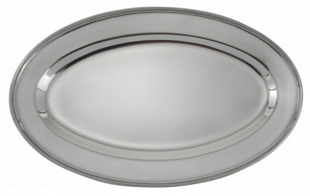 """Winco OPL-14 Oval Stainless Steel Platter 13-5/8"""" x 9-1/2&quot"""