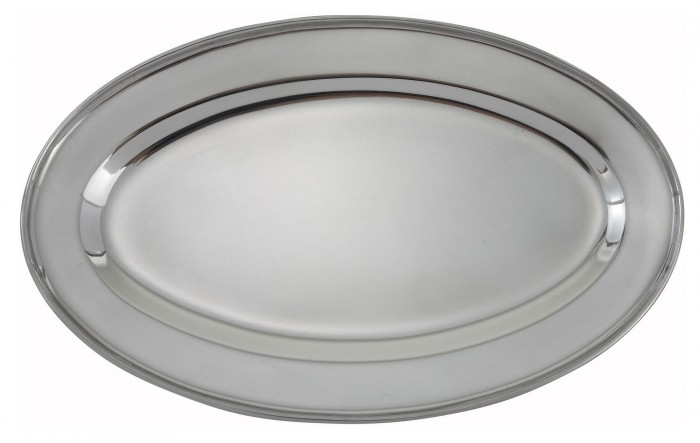 """Winco OPL-16 Oval Stainless Steel Platter 15-7/8"""" x 10-1/2"""""""