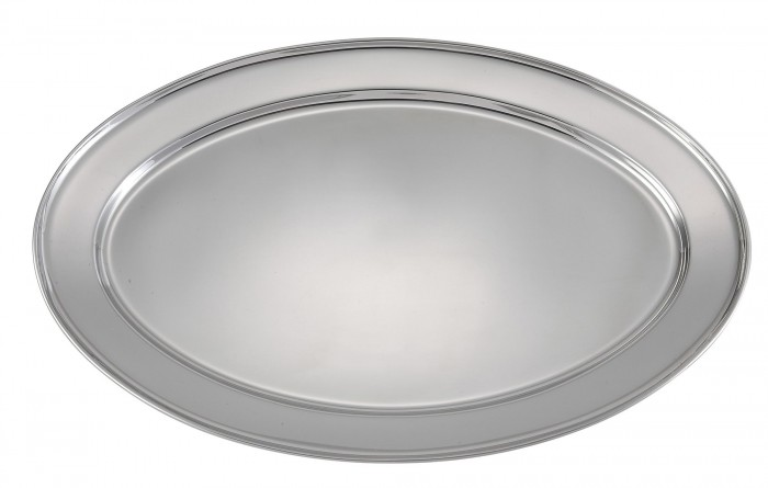 """Winco OPL-18 Oval Stainless Steel Platter 17-7/8"""" x 12-1/4"""""""
