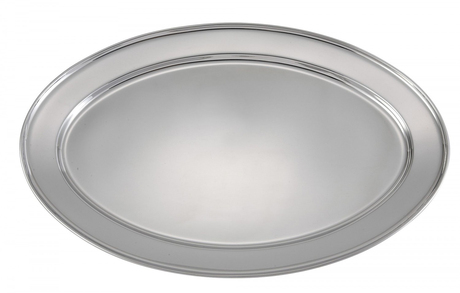 Winco OPL-22 Oval Stainless Steel Platter 21-5/8& x 15&