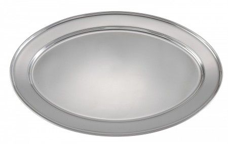 "Winco OPL-22 Oval Stainless Steel Platter 21-5/8"" x 15"""