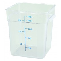Winco PCSC-18C Clear Square Storage Container 18 Qt.