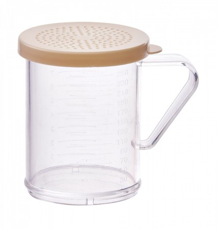 Winco PDG-10B Polycarbonate Dredge with Beige Snap-On Lid 10 oz.