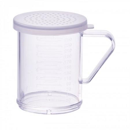 Winco PDG-10CM Polycarbonate Dredge with Clear Snap-On Lid, Medium Holes 10 oz.