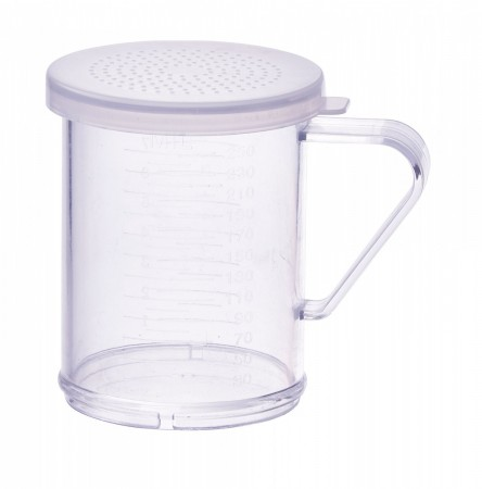 Winco PDG-10CS Polycarbonate Dredge with Clear Snap-On Lid, Small Holes 10 oz.