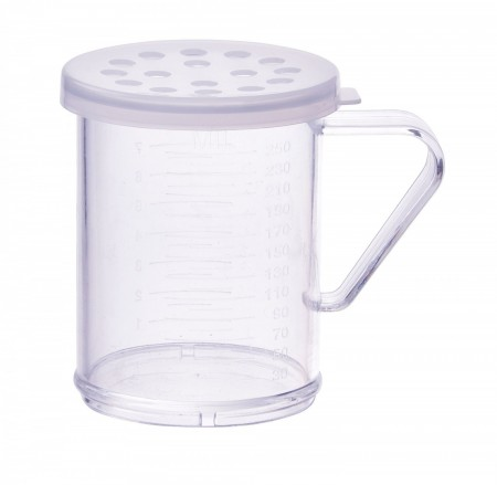 Winco PDG-10CXL Polycarbonate Dredge with Clear Snap-On Lid, Extra Large Holes 10 oz.