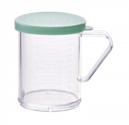Winco PDG-10G Polycarbonate Dredge with Green Snap-On Lid 10 oz.