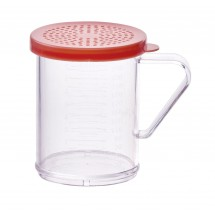 Winco PDG-10R Polycarbonate Dredge with Rose Snap-On Lid 10 oz.