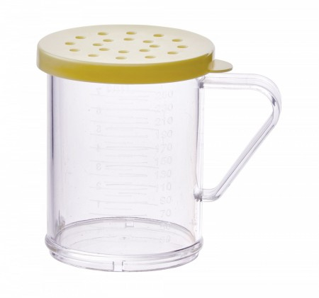 Winco PDG-10Y Polycarbonate Dredge with Yellow Snap-On Lid 10 oz.