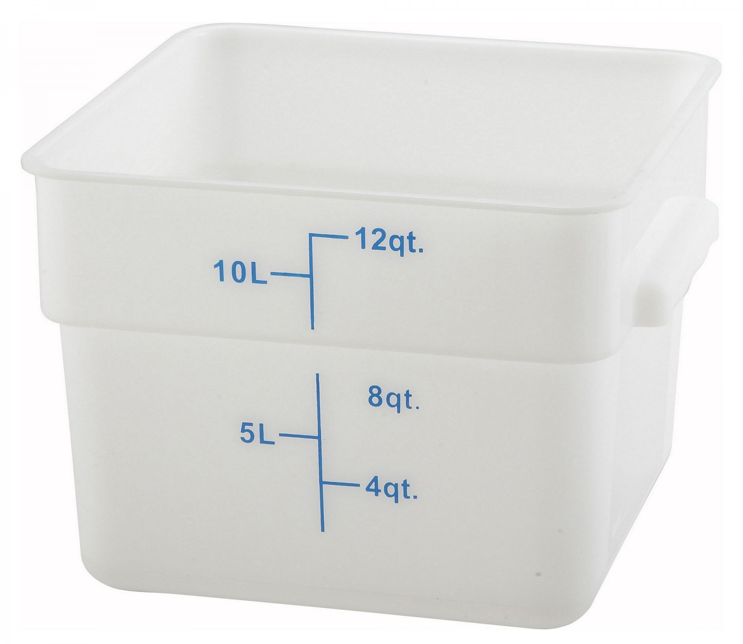 Winco PESC-12 White Square Storage Container 12 Qt.