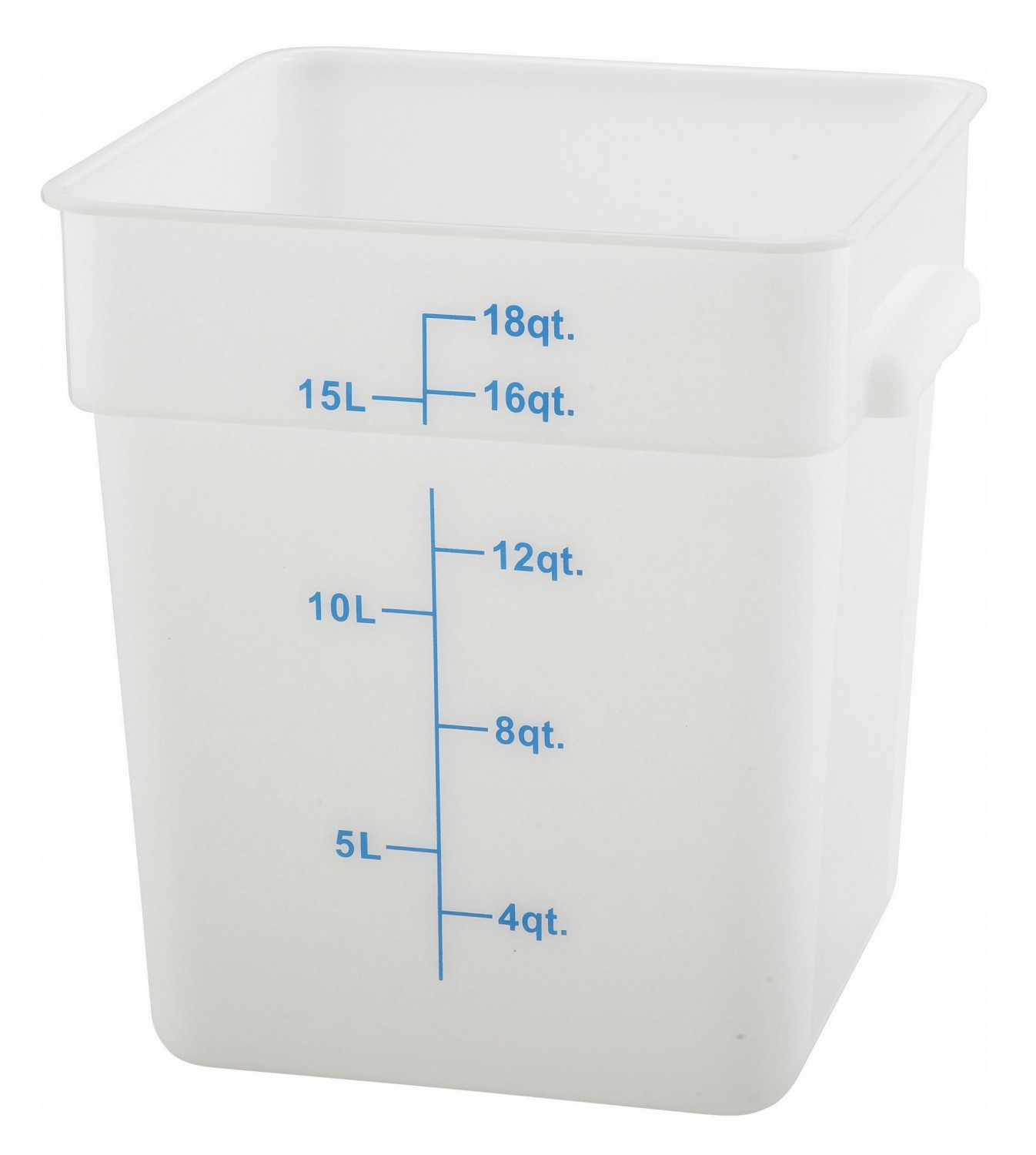Winco PESC-18 White Square Storage Container 18 Qt.