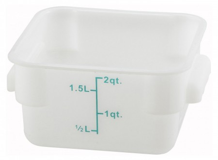 Winco PESC-2 White Square Storage Container 2 Qt.