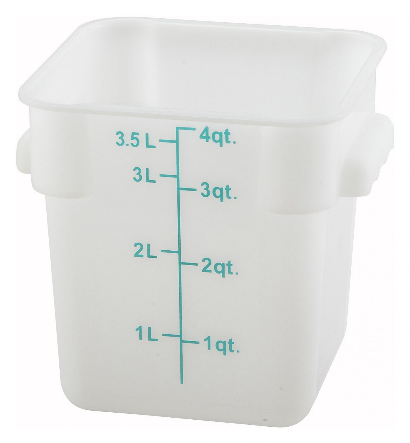 Winco PESC-4 White Square Storage Container 4 Qt.