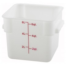 Winco PESC-6 White Square 6 Qt. Storage Container