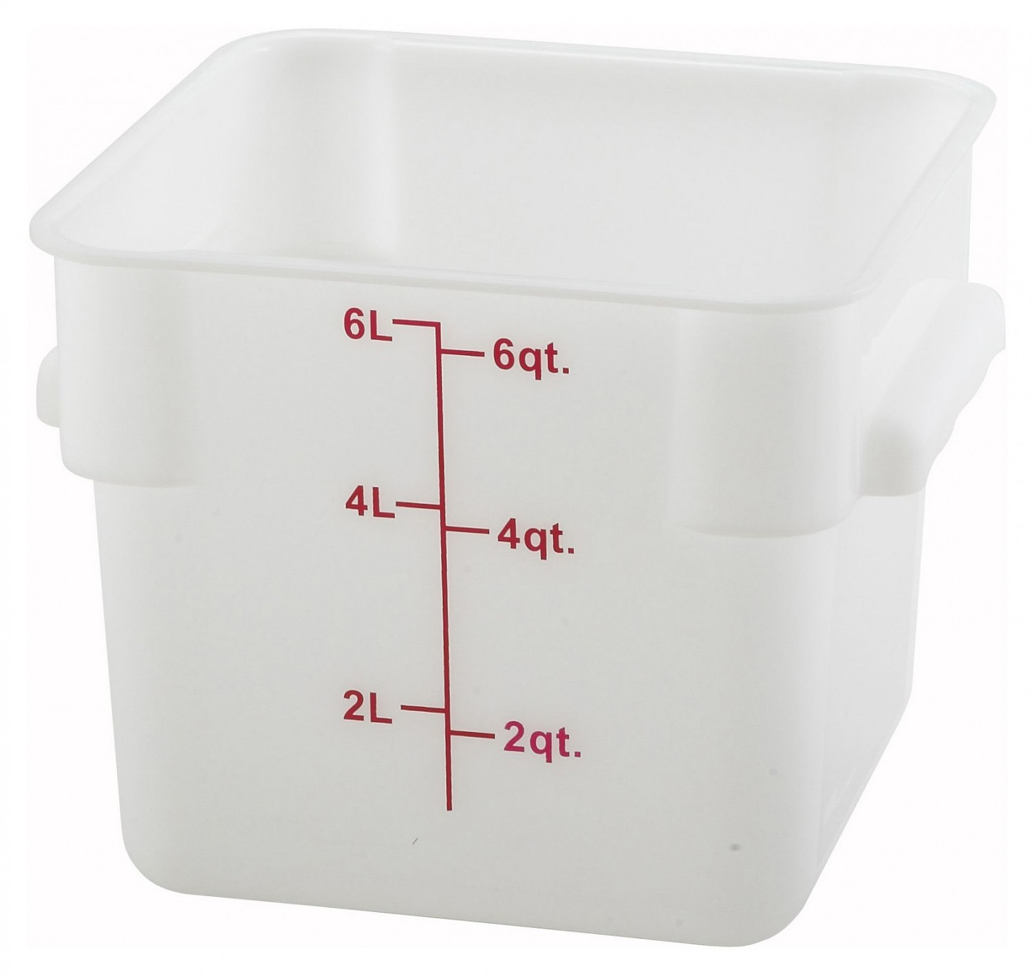 Winco PESC-6 White Square Storage Container 6 Qt.