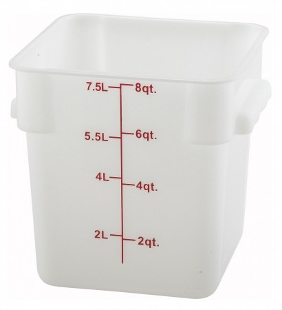 Winco PESC-8 White Square Storage Container 8 Qt.