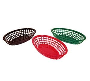 Winco PFB-10 Oval Plastic Fast Food Basket - 1 doz