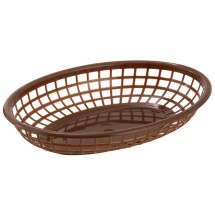 Winco PFB-10B Brown Oval Plastic Fast Food Basket - 1 doz
