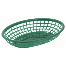 Winco PFB-10G Green Oval Plastic Fast Food Basket - 1 doz