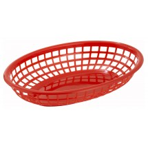 Winco PFB-10R Red Oval Plastic Fast Food Basket - 1 doz